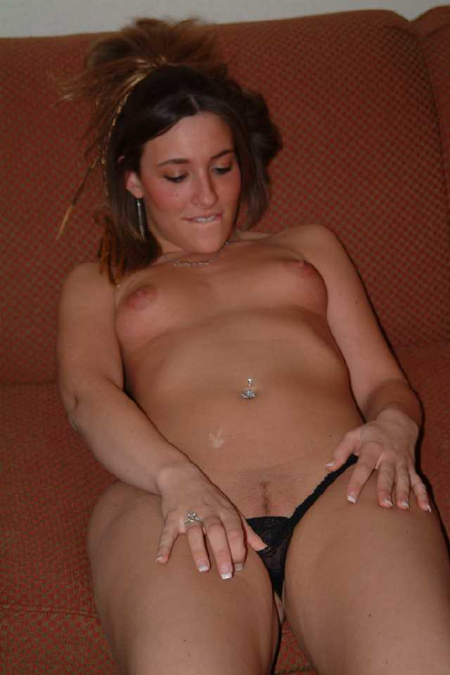 College Girl Pulling Down Black Panties