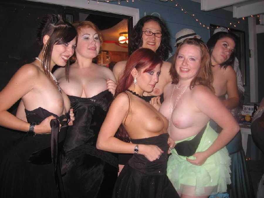 prom Girls at flashing tits